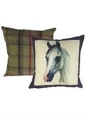 Cushion Horse Portraits Aubergine